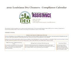 Image of Louisiana's Perc Dry Cleaner Compliance Calendar
