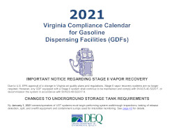 Image of Virginia's Compliance Calendar for gasoline dispensing facilities