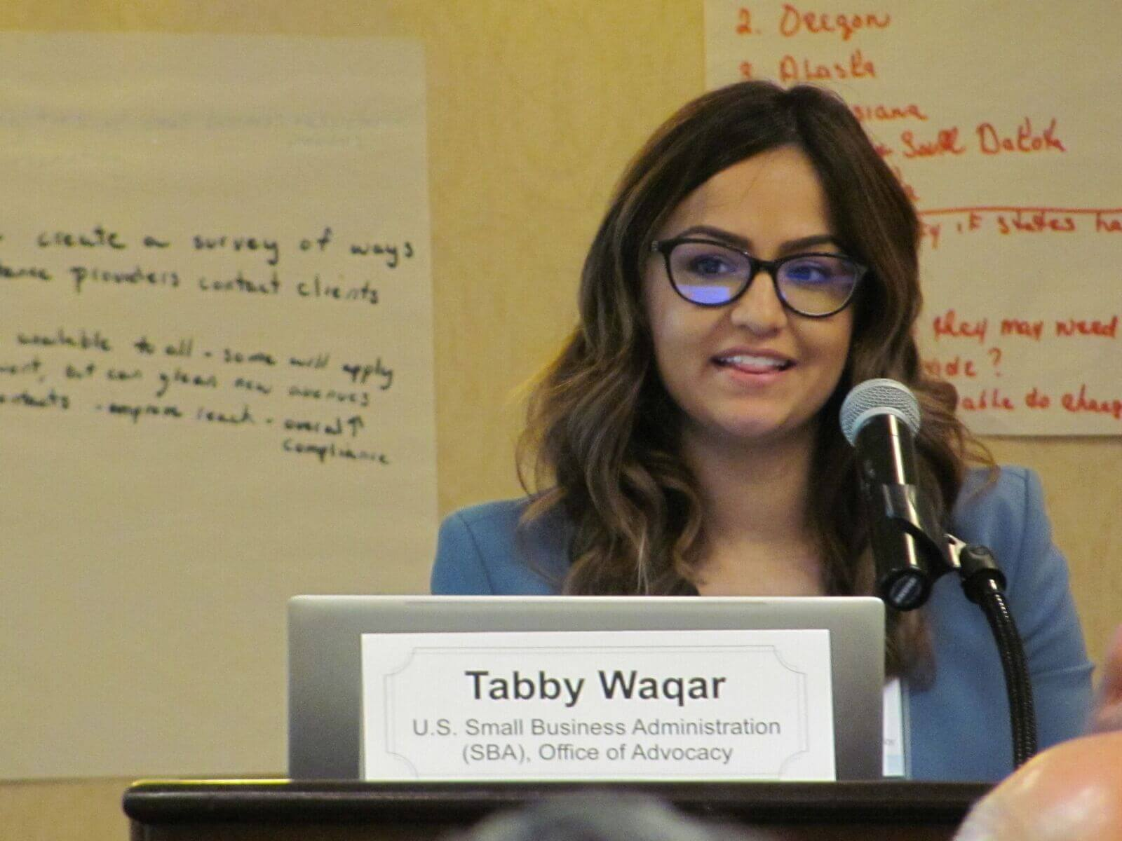 Image of Abby Waqar giving a presentation.